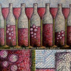 """LES RACINES DU VIN (2013). """"Vin, vigne, racine, art... Bourgueil..."""". Mixed media. Format : 50 x 40 cm."""