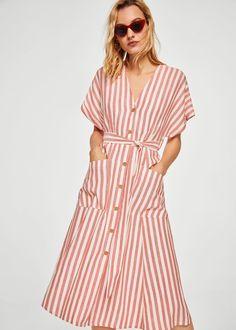 Льняное платье в полоску | MANGO МАНГО
