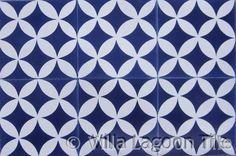 Blue and white floor tile