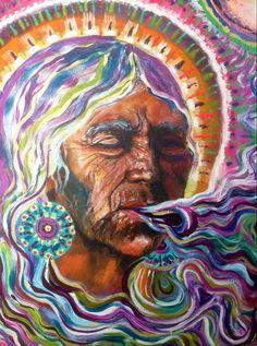 la curandera Shamanic Shipibo Native American by Isabel Bryna of MariposaGalactica Art Visionnaire, Spiritual Paintings, Art Premier, Spirited Art, Goddess Art, Inspiration Art, Mystique, Visionary Art, Psychedelic Art