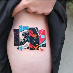 Tattoo art: geometry colorful in action A tattoo draws you for life - Tattoos (Tätowieren, Kunst, Tattoo) - Minimalist Tattoo Body Art Tattoos, Sleeve Tattoos, Tatoos, Mini Tattoos, Finger Tattoos, Tatuajes Tattoos, Henna Body Art, Irezumi Tattoos, Black Tattoos