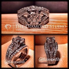 How beautiful is this new wedding set. The engagement ring was made with a .80ct…