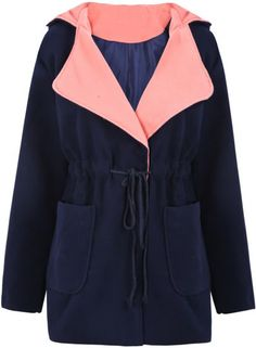 Blue Hooded Drawstring Pockets Coat pictures