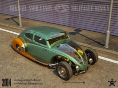VW Beetle Custom. Solifague Design, Art deco style. Opened the engine, paired 4-cylinder boxer engine. Frame.