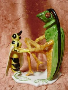Grasshopper Cricket Bee Insect Porcelain Figurine Ens German - What an odd and interesting piece. Could be from The Adventures of Maya the Bee (German: Die Biene Maja) is a German book first written by Waldemar Bonsels and published in 1912.