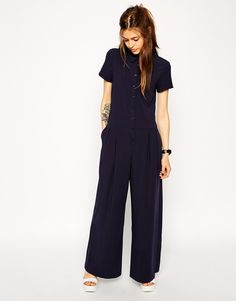 Image 1 ofASOS Jumpsuit with Short Sleeves and Wide legs