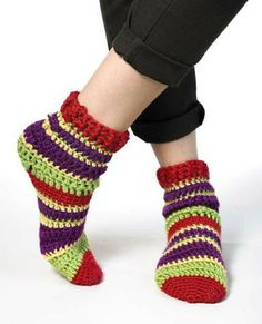 Striped crochet socks