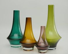 A Group of 4 Mid-century Vintage Modernist Finnish Vases by Erkkitapio Siiroinen for Riihimaki