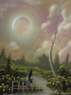 Bruised By Envy. Fantasy Landscape Fairytale Art By Philippe Fernandez  Painting  - Bruised By Envy. Fantasy Landscape Fairytale Art By Philippe Fernandez  Fine Art Print
