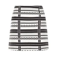 Team this Monochrome Stripe Jacquard Skirt with a roll neck long sleeve top and fringe shoe boots, to capture the Winter Tribe trend. £19.99 #AW15edit #newlook #fashion