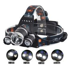 Headlamps, Headlights, Flashlights, Post Lights, ShineMe Waterproof LED Headlamp with Zoomable 3 modes Headlight, hands-free headlight for camping (1500 Lumens)(Batteries Not Include). Adjustable 90 degree lighting: wide angle lightening,Ergonomic Design,top comfortable button. Ideal for camping,hiking,cycling,fishing,fixing and other activities working with batteries. 4 Modes for different situation:Single big LED bulb light,Two little bulbs light and big bulb off,Three bulbs lighting at...