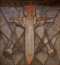 Alegoría del viento o El ángel de la paz, de Roberto Montenegro, originalmente formaba parte de la serie que pintó en los corredores del ex Colegio Máximo de San Pedro y San Pablo. En 1965 el mural se instaló en el Palacio de Bellas Artes, como la única pieza del conjunto que pudo sobrevivir a la humedad.