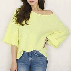 Ladylike Women's Scoop Neck Candy Color Long Sleeve Pullover Sweater