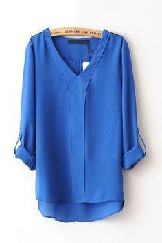 Long Sleeve High-Low Design Camisas - OASAP.com