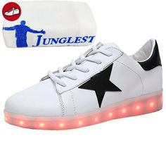[Present:kleines Handtuch]Golden EU 41, Sport weise Lackleder Top Leuchtend Weiß USB LED High Damen Aufladen 43 Sneaker 7 Unisex-Erwachsene Sportschuhe für Herren JUNGLES
