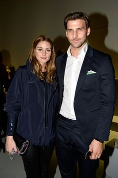 Olivia Palermo (L) Johannes Huebl attend the Akris show as part of the Paris Fashion Week Womenswear Fall/Winter 2015/2016 on March 8, 2015 in Paris, France.