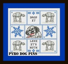 Drop It Like It's Hoth Pattern/PDF - 'Star Wars'  Cross Stitch Sampler - INSTANT DOWNLOAD