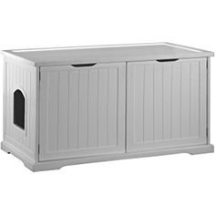 This white Cat Washroom Bench Cat Litter Box Cover will make an elegant and stylish addition to any bathroom. The Cat Washroom serves as an attractive cover to hide away the litter box and confine all Hiding Cat Litter Box, Cat Litter Box Enclosure, Hidden Litter Boxes, Best Litter Box, Litter Box Covers, Cat Condo, Pet Furniture, White Furniture, Bathroom Furniture