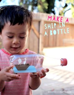 Ship In A Bottle craft for kids..... how to make, using the cheater's method! #happyhandmade @pinkstripeysock