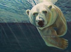 """Polar Bear painting - """"Getting Closer"""" - Oil on Canvas by artist Memory Roth"""