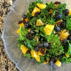 Zesty Orange & Blueberry Kale Salad with Chia #recipe #easy #lunch