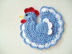 Crochet Blue Chicken Rooster Country Farm Animal Blue Cotton Pot Holder Potholder Hot Pad Kitchen Decor Housewarming Gift