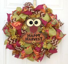 Fall Deco Mesh Wreath  Harvest Wreath Owl by KaylasKreationsTX, $55.00