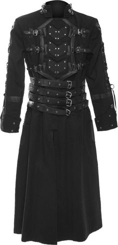 The Family of Adden is known for wearing black. Anything metal on their uniforms is usually copper. These clothes are highly conductive so that they may easily use their powers to manipulate, create and become electricity. This is the kind of coat that Cladden, eldest of the three sons of Supremicose would wear to indicate his status as heir to the Adden's Society.