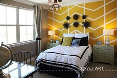 Accent Wall Golden Mustard Yellow  Maybe With Painters Tape?
