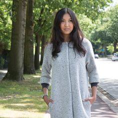 Chloë Jas grijze luxe wol Patroon La Maison Victor