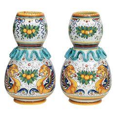 Pair Vintage Volpi Deruta Hand Painted Raffaellesco Majolica Vases found on Ruby Lane