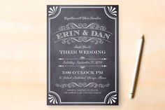 A Chalkboard Marriage Wedding Invitations by Petite Papier at minted.com