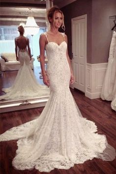 Strap Sweetheart Backless Mermaid Lace Wedding Dress Ball Gown WD026