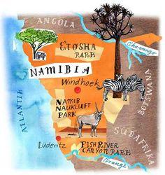 Eine wunderschöne Karte von Namibia mit allen Höhepunkten wie der Namib, dem Etosha oder dem Fish River Canyon.    Mehr zu Namibia gibt es hier: http://www.genuss-touren.com/safari-genuss/namibia/