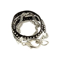 Alexandra Beth Leather and Snakeskin Bracelet in Silver (4,595 DOP) ❤ liked on Polyvore featuring jewelry, bracelets, accessories, pulseras, pulseiras, silver bangles, silver jewellery, wrap bracelet, chains jewelry and leather wrap bracelet