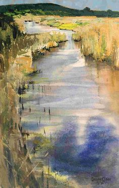 SUSAN CLARE, River in the Reeds II, mixed watermedia, 56x76cm. Vote for your favourite artwork from our 50 shortlisted Artists of the Year > http://www.artistsandillustrators.co.uk/shortlist2017 #AOTY2017