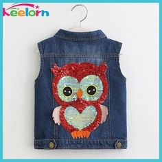Keelorn Girls Outerwear 2017 Autumn Cowboy Waistcoats Length Jacket Cartoon Owl Appliques Coat for Kids Sleeveless Vests