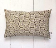 Boho Style Purple Geometric Japanese Vintage Kimono Silk Lumbar Pillow Cushion 'Hexagon Tiles' x