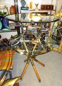 Vintage modern glass top tables. $125/each