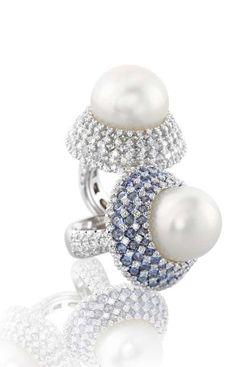 Digo Valenza Pearl and Diamond Rings High Jewelry, Pearl Jewelry, Jewelry Rings, Jewelry Accessories, Jewelry Design, Pearl Rings, Pearl And Diamond Ring, Pearl And Lace, Pearl Design