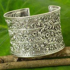 Silver cuff bracelet - Jasmine Tendrils | NOVICA