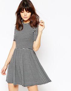 rib striped skater dress
