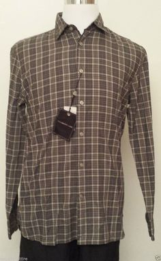 #collectibles John Varvatos shirt men size L (16.5-34/35) Light 100% cotton brown plaid withing our EBAY store at  http://stores.ebay.com/esquirestore