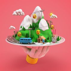 Ski Illustrations by Benoît Challand #3D, #Campaign, #Illustration, #Ski