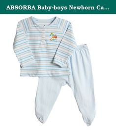 ABSORBA Baby-boys Newborn Car Stop Two Piece Footed Pant Set, Blue, 3-6 Months. 2 piece layette set / Striped top has button front and footed pants have an elastic waist / Machine wash / 100% cotton / By: Absorba.