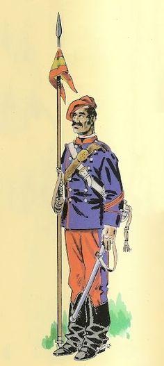 Caballería Carlista 1872-76 Cabo de Lanceros Cabo, Irene, Princess Zelda, Baseball Cards, Fictional Characters, War, Hunters, Historia, Military Uniforms