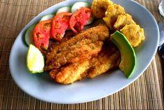 Pescado frito con patacón