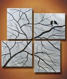 Lace resist painting in 2019 painting ideas peinture vitrail Multi Canvas Painting, Multiple Canvas Paintings, Diy Canvas, Tree Canvas, Painted Canvas, Simple Paintings, Canvas Ideas, How To Paint Canvas, Homemade Canvas Art