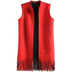 Red Stand Collar Sleeveless Faux Suede Tassel Waistcoat ($36) ❤ liked on Polyvore featuring outerwear, vests, red waistcoat, sleeveless vest, faux suede vest, waistcoat vest and red vest