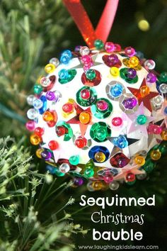 diy sequinned christmas bauble kids can make
